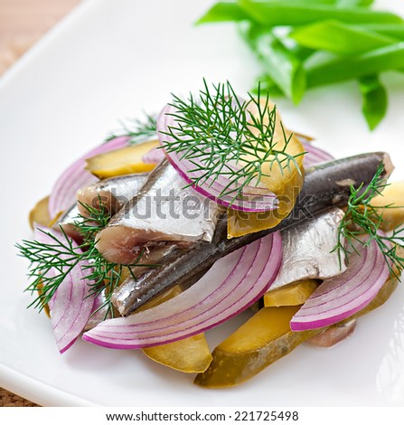 Herring salad with pickled cucumbers and onions - stock photo