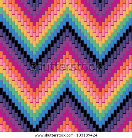 Herringbone Pattern in rainbow colors has dimensional detail. Repeats seamlessly. - stock photo