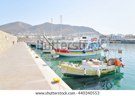 HERSONISSOS, GREECE - 1 JUNE 2016: Harbor in Limenas Chersonisou. Hersonissos - a city in the north of Crete, located between the Mediterranean and Aegean seas. The city is focused on tourists.