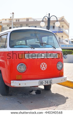 HERSONISSOS, GREECE - 1 JUNE 2016: Volkswagen T2 on street of Hersonissos. First minivan and a second civilian vehicle Volkswagen. It is produced from 1967 to 1979. - stock photo