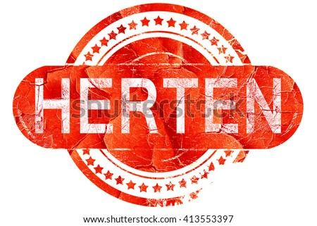 Herten, vintage old stamp with rough lines and edges