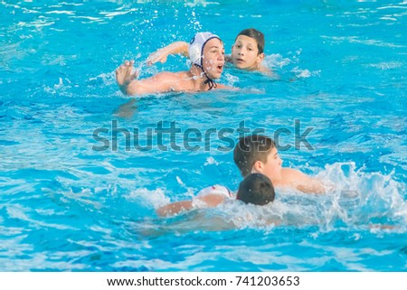 Herzeg Novi, Montenegro, 17 MAY, 2017:  Group of boys playing water polo during competitions