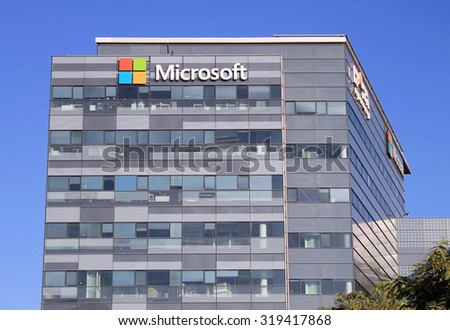 HERZLIYA, ISRAEL - AUGUST 31, 2015: Microsoft corporation office building facade with logo in Herzliya, Israel. Microsoft Corporation is an American multinational technology company. - stock photo