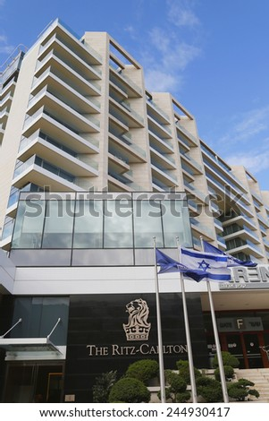 HERZLIYA, ISRAEL - NOVEMBER 25, 2014: The Ritz-Carlton Herzliya in Herzliya Marina. Ritz-Carlton operates 84 luxury hotels and resorts in major cities and resorts in 26 countries