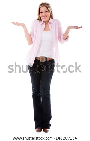 Hesitant casual woman - isolated over a white background  - stock photo