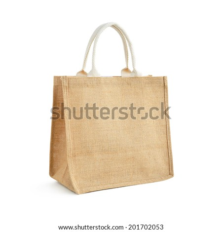 Hessian or jute bag - reusable brown shopping bag with loop handles - isolated