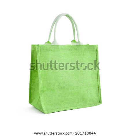 Hessian or jute bag - reusable green shopping bag with loop handles - isolated