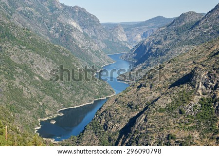 Hetch Hetchy Reservoir from the Grand Canyon of the Tuolumne River in Yosemite National Park - stock photo