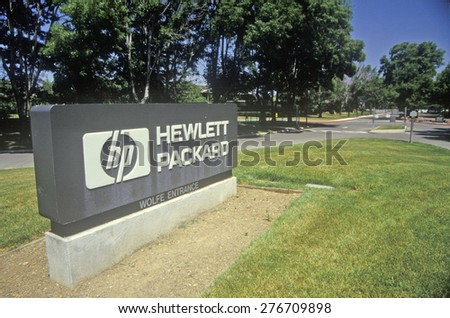 Hewlett Packard building, high tech firm in Cupertino, California - stock photo