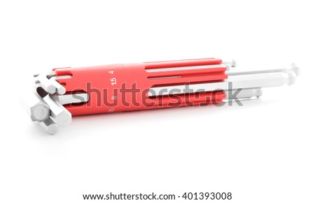 Hex key, iron tool for industry, isolated, on white background