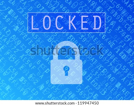 Hexadecimal numbers and letters with padlock symbol and Locked text background - stock photo