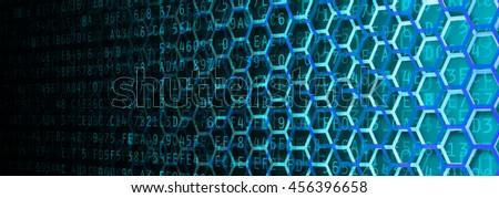 Hexagon and hexadecimal computer code fading banner - stock photo