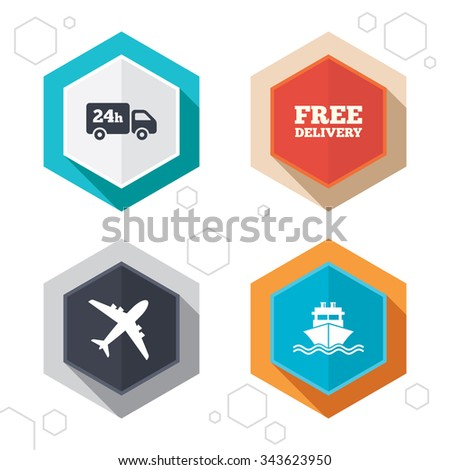 Hexagon buttons. Cargo truck and shipping icons. Shipping and free delivery signs. Transport symbols. 24h service. Labels with shadow.  - stock photo