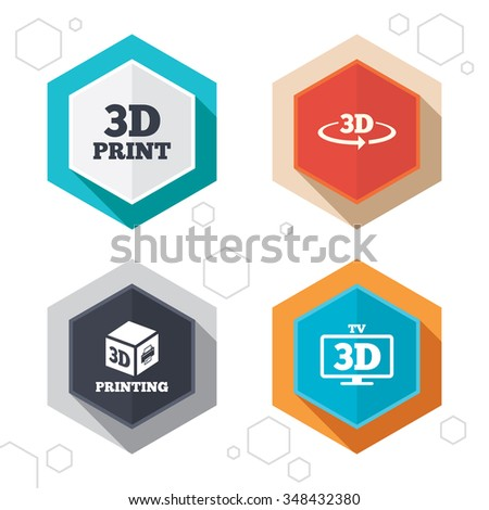 Hexagon buttons. 3d technology icons. Printer, rotation arrow sign symbols. Print cube. Labels with shadow.