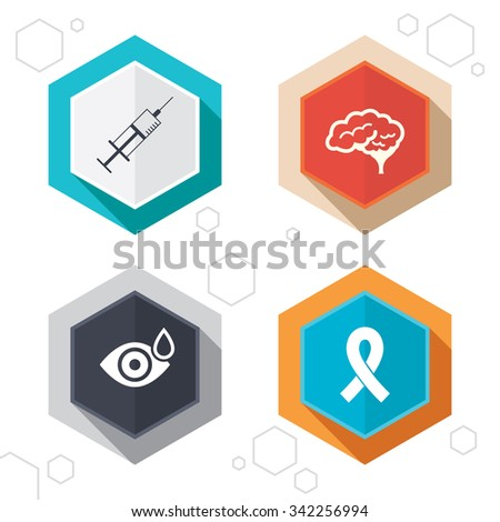 Hexagon buttons. Medicine icons. Syringe, eye with drop, brain and ribbon signs. Breast cancer awareness symbol. Human smart mind. Labels with shadow.  - stock photo