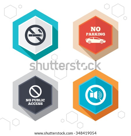 Hexagon buttons. Stop smoking and no sound signs. Private territory parking or public access. Cigarette symbol. Speaker volume. Labels with shadow.