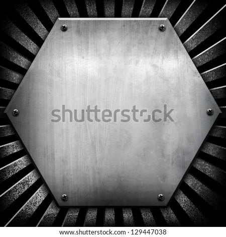 hexagon iron background - stock photo