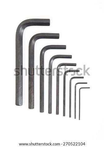 Hexagon kit tool or allen wrench set isolated on white background - stock photo