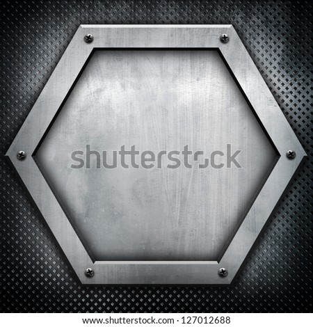 hexagon metal plate - stock photo