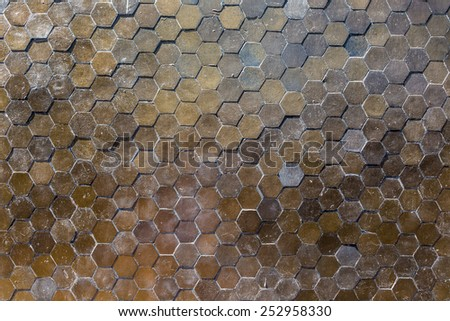 hexagon pattern tile wall background  - stock photo