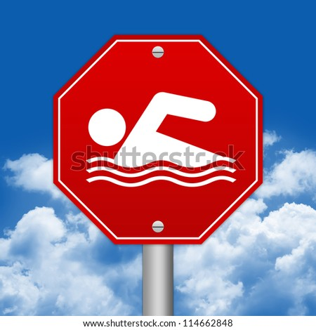 Hexagon Red Traffic Sign For Swimming Zone Against The Blue Sky Background - stock photo