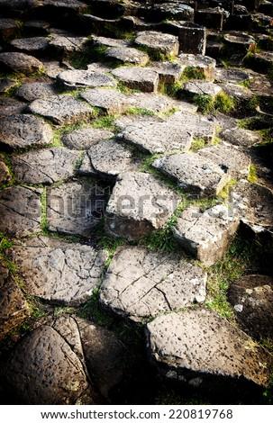 Hexagon rocks at Giants Causeway, Ireland - stock photo