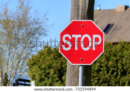 Hexagon shaped Red Stop Sign