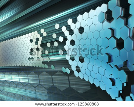 Hexagon shapes forming a wall on a high technology background. Digital illustration. - stock photo