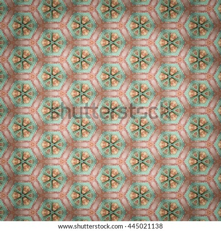Hexagon shapes vintage toned pattern background with dark vignette - stock photo