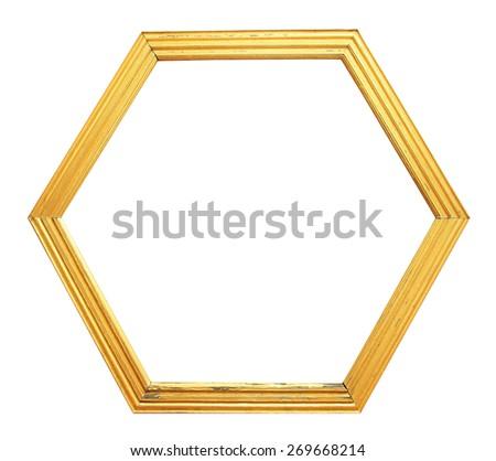 Hexagon wooden frame - stock photo