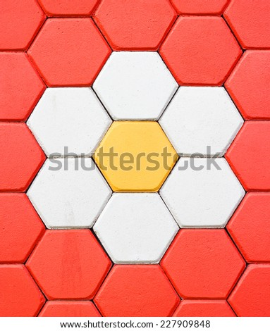 Hexagonal brick flooring background - stock photo