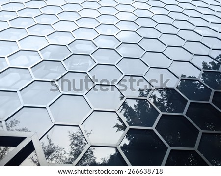 Hexagonal building facade - stock photo