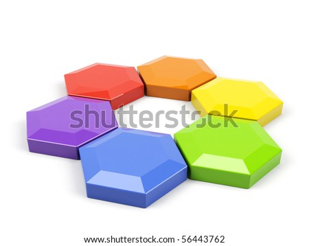 Hexagonal color wheel on a white. - stock photo