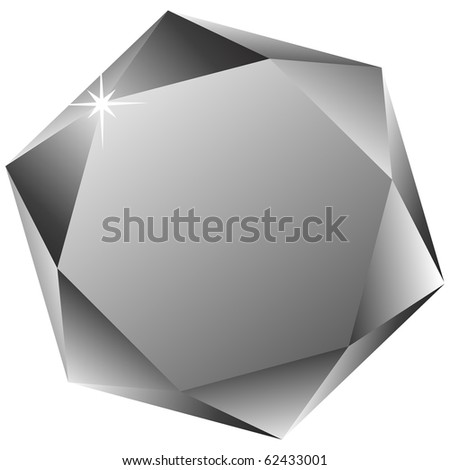 hexagonal diamond against white background, abstract art illustration; for vector format please visit my gallery - stock photo