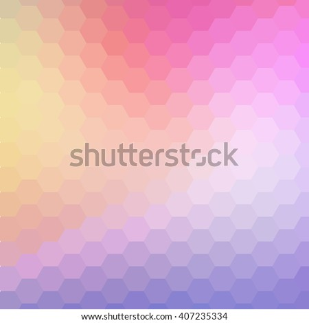 hexagonal gradient blue, red, yellow, violet, cyan color and triangle polygon pattern background - stock photo