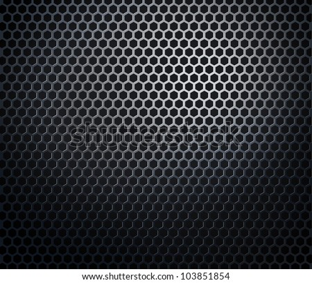 Hexagonal metal perforated honeycomb grill black background - stock photo
