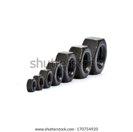 Hexagonal screws isolated on a white background in the industry - stock photo