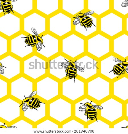 Hexagonal seamless pattern with bees