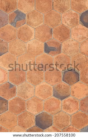 Hexagonal tiles floor background - stock photo