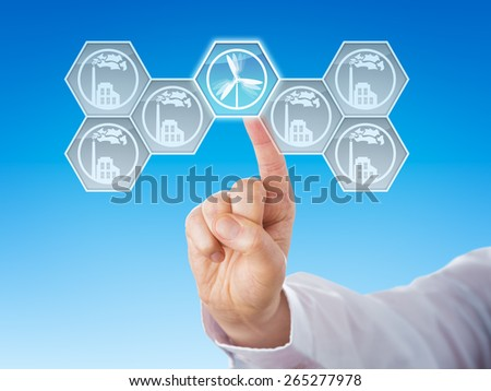 Hexagonal wind power icon selected by touch. Six buttons with smoking factory symbols for conventional energy generation do remain grey. Metaphor. Close up with linear gradient blue background. - stock photo