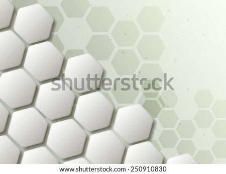 Hexagons technology and communication background - stock photo