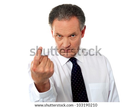 Hey you, come here! Businessman calling - stock photo