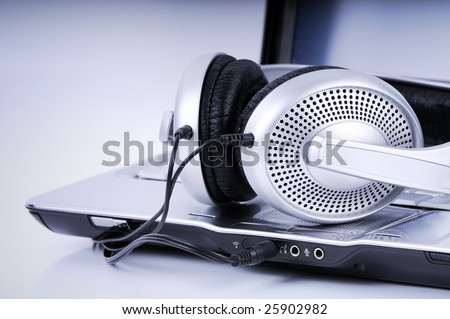 Hi-Fi Headphone and  Laptop - stock photo