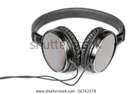 Hi-fi headphones on white background