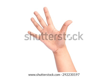 Hi five girl's hand on white background