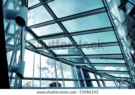 hi tech building - glass and metal blue tones