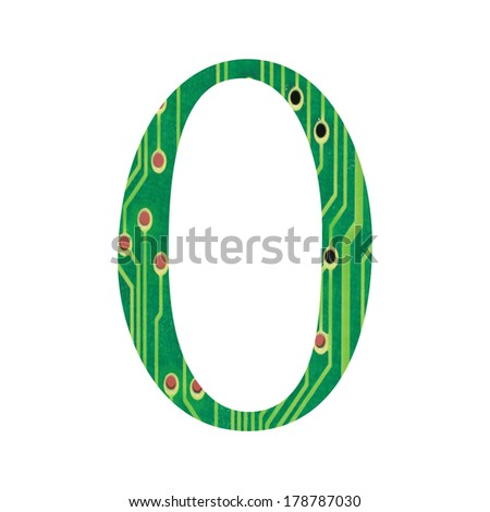Hi-tech circuit board alphabet. number 0 - stock photo