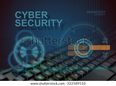 hi tech infographics of cyber security made in 3d software - stock photo