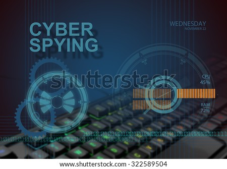 hi tech infographics of cyber spying made in 3d software - stock photo