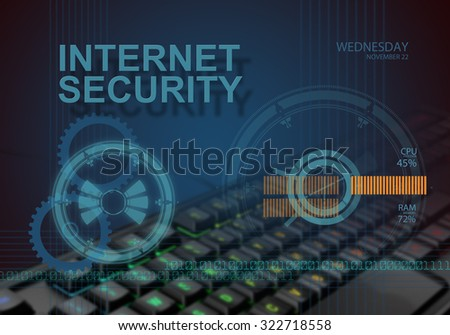 hi tech infographics of internet security made in 3d software - stock photo
